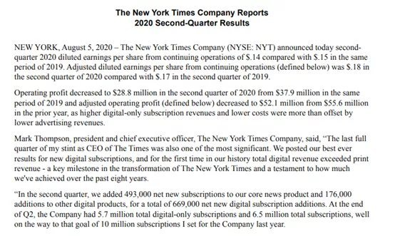 new york time company reports