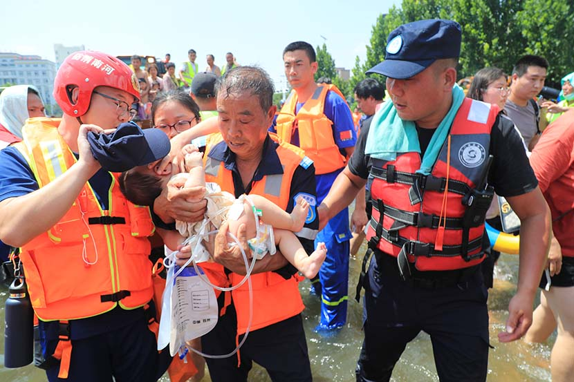 A baby in Henan Flooding